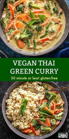 Easy Vegan Thai Green Curry gets done in 30 minutes! Packed with fresh veggies and so much flavors, it's the perfect meal to whip up on busy days. Gluten-free! #veganthaigreencurryrecipe #curry #vegan