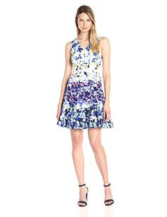 New Maggy London Women's Pansy Meadow Stripe Cotton Fit and Flare online.