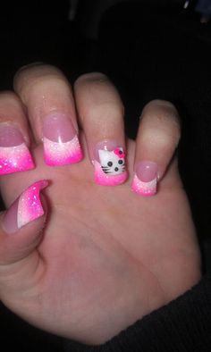 remove the hello kitty and these nails are awesome Colorful Nail Designs, Cool Nail Designs, Hello Kitty Nails, Plain Nails, Cat Nails, Fabulous Nails, Gel Color, Nails Inspiration, Pretty Nails