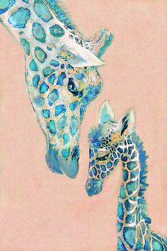 Loving Giraffes Family- Coral Print By Jane Schnetlage