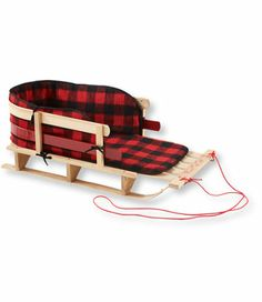 Pull Sled with Cushion and Buffalo Plaid Cushion Cover, Large: Sleds and Toboggans   Free Shipping at L.L.Bean
