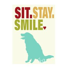 Golden Retriever Dog Art Sit Stay Smile 5x7 Matted to fit 8x10 Frame. $14.00, via Etsy.