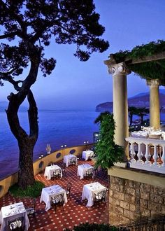 Dining alfresco at the Hotel Bellevue Syrene ~ Sorrento, Italy Places Around The World, Oh The Places You'll Go, Places To Travel, Places To Visit, Around The Worlds, Hotel Bellevue, Bellevue Syrene, Italy Vacation, Vacation Spots