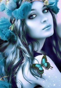 BEAUTY GIRL Fantasy Girl, Fantasy Art Women, Beautiful Fantasy Art, Beautiful Fairies, Beautiful Butterflies, Beautiful Paintings, Beautiful Images, Fairy Pictures, Digital Art Girl