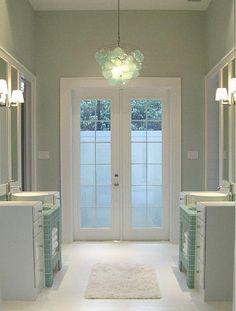 Sherman Williams color: Sea Salt  (gorgeous for a bathroom)