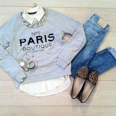 Sweatshirt Outfit Preppy Shoes 61 Ideas For 2019 Street Style Outfits, Casual Outfits, Cute Outfits, Casual Wear, Fashion Mode, Look Fashion, Womens Fashion, Daily Fashion, Paris Fashion