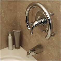 Invisia Bright Polished Chrome Accent Ring Support Rail And Hand Towel Holder HealthCraft Ada Bathroom, Handicap Bathroom, Bathroom Safety, Bathroom Ideas, Bath Ideas, Master Bathroom, Bathroom Designs, Bathroom Showers, Disabled Bathroom