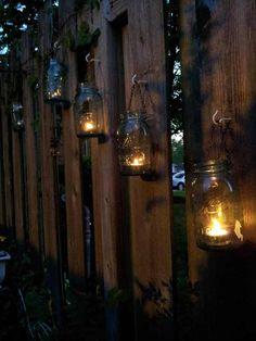 New backyard gazebo decorations lighting mason jars Ideas Fence Lighting, Backyard Lighting, Outdoor Lighting, Lighting Ideas, Backyard Gazebo, Fire Pit Backyard, Gazebo Decorations, Gazebo Ideas, Brick Fence