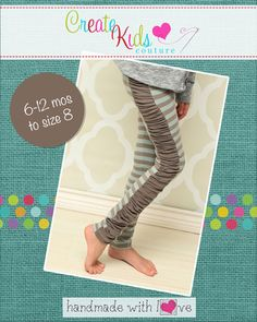 These adorable ruched and cuffed option leggings have a fun and uniquely simple design that will be a perfect addition to any season and outfit! Make them with the cuffed option or with the ruched side option, or choose to make a simple legging instead!! Pair it under that summer dress for added warmth! These leggings are a slimmer fit legging so be sure to use a Lycra knit with at least a 75% stretch to ensure a good fit. For use only with knit fabrics.