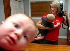 Baby photobombing his own photo...mindblowing!