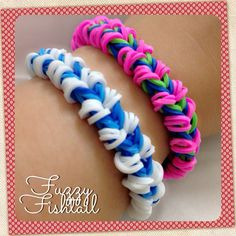 Fuzzy Fishtail created using Monster Tail (however, you can use your Rainbow Loom / Cra-Z-Loom / Fork) Design was originally created by Danielle Wilhelm and I got the tutorial from YouTube via Made by Mommy.