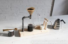 DIY Pour Over Coffee Maker.  learn how to make this pour over coffee maker out of iron pipe.