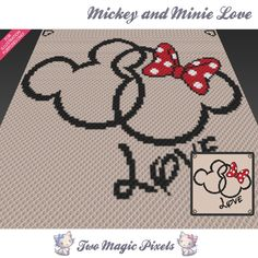 Mickey and Minnie Love crochet blanket | TwoMagicPixels