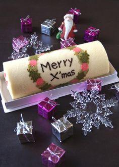 Junko - Christmas decorated swiss roll