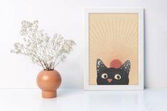 Abstract Sun Printable, Cat Portrait Print Cat Posters, Burnt Orange, Midcentury Modern, Mid Century, Wall Decor, Boho, Abstract, Cats, Room Wall Decor