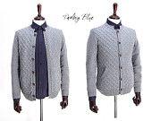 Men's knit cardigan,Cable knit cardigan,Man's gray cardigan,Man's cable sweater,Men's knit, Men's gray sweater,Men's fashion,Men's closing