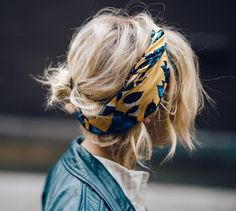 a colorful hair scarf is a great way to add a pop of color to a simple outfit