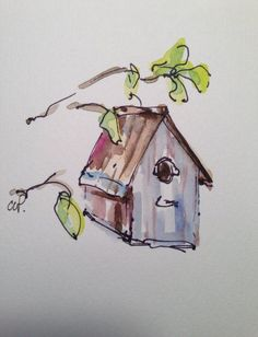 Birdhouse Watercolor Card by gardenblooms on Etsy****notice the colors on the house