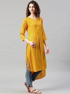 Libas Yellow Cotton Solid High Low Kurta