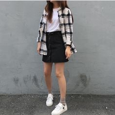 Ideas for moda coreana korean style 2019 Korean Fashion Dress, Korean Street Fashion, Asian Fashion, Dress Fashion, Ulzzang Fashion Summer, Skater Fashion, Hipster Fashion, Trendy Fashion, Girl Fashion