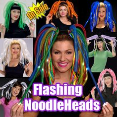 Flashing Blinking Lightup Noodle Head Band Pigtails Night Time Party Fun | eBay