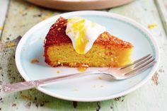 A hint of orange blossom adds a floral touch to the this polenta and almond-based orange cake.