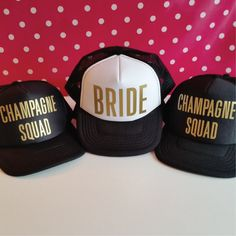 Set Of 6 Bachelorette Party Hats. 5 Champagne Squad Hats. 1 Bride Hat. Hen Party Hats. Snapback. Bridal Party. Wedding Party Trucker Caps. by SoPinkUK on Etsy