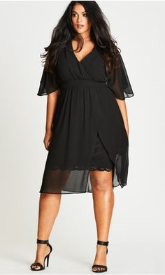Love Affair Black Chiffon Overlay Dress - Plus Size Wedding Guest Dresses - Ideas of Plus Size Wedding Guest Dresses - Shop Women's Plus Size New Women's Plus Size Dress Plus Size Wedding Guest Outfits, Plus Size Wedding Dresses With Sleeves, Plus Size Cocktail Dresses, Plus Size Party Dresses, Dress Plus Size, Plus Size Outfits, Plus Size Black Dresses, Plus Size Sommer, Moda Xl