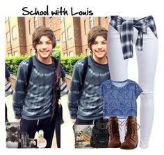 """""""School with Louis"""" by giovannacarlamalik ❤ liked on Polyvore featuring moda, ONLY, Miharayasuhiro, Monki, American Apparel, Sherpani, With Love From CA, River Island e LORAC"""