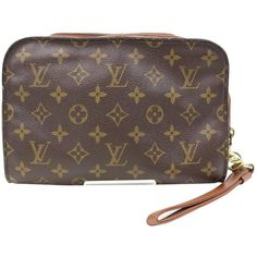 Pre-owned Louis Vuitton Cloth Clutch Bag ($285) ❤ liked on Polyvore featuring bags, handbags, clutches, brown, women bags clutch bags, louis vuitton clutches, purse clutches, hand bags, monogram purse and vintage handbags purses
