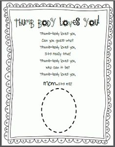 Teaching Blog Addict: Thumb~Body Loves YOU! Mother's Day Fun!