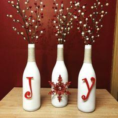 JOY Christmas Wine Bottles Easy Craft Christmas Decorations