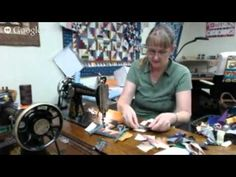 Mindlessly sewing crumb blocks by treadle!  ZERO STRESS and lots of fun!