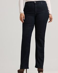 NYDJ Plus Size Marilyn Straight-Leg Jeans from Bloomingdale's give a comfortable fit and a great look. These are great paired with heels.   For plus size women's fashion advice visit http://www.plvshstyle.com/