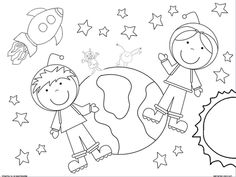2 coloring pages boy and girl astronaut - Astronaut Coloring Pages Printable