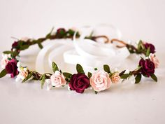 Blush pink Burgundy flower crown Dusty rose Blush Burgundy Floral accessories Bridal headpiece Blush wedding crown Burgundy bridal crown Etsy :: Your place to buy [. Burgundy Flowers, Blush Flowers, Fall Flowers, Bridal Flowers, Fall Flower Crown, Flower Girl Crown, Flower Crown Wedding, Flower Crowns, Flower Girls