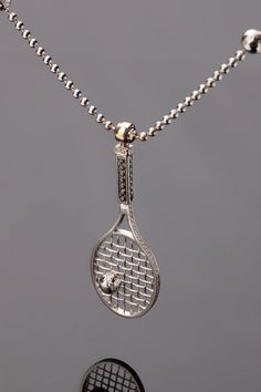 Silver tennis racquet necklace gifts and accessories pinterest 091ct diamond tennis racket pendant 18k white gold unique designer necklace mozeypictures Image collections
