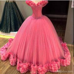 c51f7cdf575a Gorgeous Hot Pink Quinceanera Dresses Hand Made Flowers Princess Ball Gown  Prom Dress Sweet 16 Dress