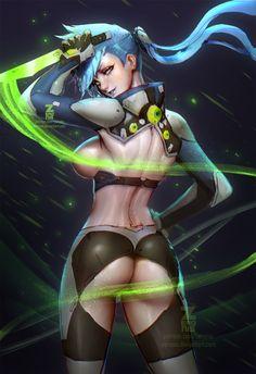 Neon Dash NSFW 01 by ZeroNis on DeviantArt, sexy girl, ninja, cyber, cyberpunk, girl, digital painting, concept, #art, inspirational art