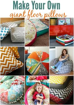 Make Your Own Floor Pillows. Almofadas redondas