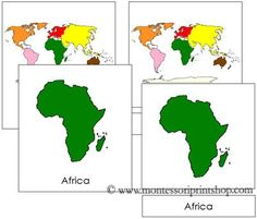 World Continent Cards - Printable Montessori Learning Materials for home and school.