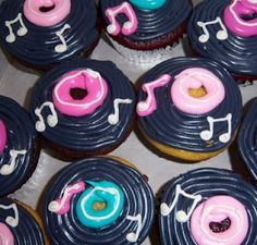 Cupcakes in Dallas for weddings, birthdays, baby showers Call 50s Theme Parties, 70s Party, Disco Party, Rock And Roll Birthday, 50s Rock And Roll, Bolo Musical, Cupcake Delivery, Grease Party, Sock Hop Party