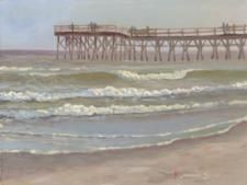 Plein air painting of the pier at Sunset Beach, NC