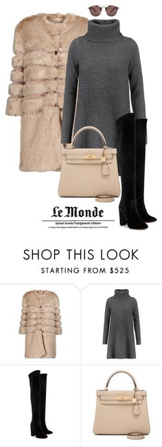 """""""Winter ootd"""" by leaaaaxx ❤ liked on Polyvore featuring AINEA, Madeleine Thompson, Aquazzura, Hermès and Oliver Peoples"""