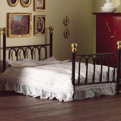 Dolls House Doppelbett Metall schwarz 1:12 für Puppenhaus