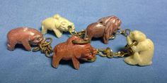 Charm Bracelet with 5 Handcarved Mineral Animals, Elephant, Primate, Lion, Boar in Jewelry & Watches, Fashion Jewelry, Charms & Charm Bracelets   eBay