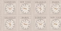 Clocks (40024) - Albany Wallpapers - A fun, stylish, affordable clock design in a range of three colours.  Los Angeles, Paris, London and New York in text.  Shown in the stone grey. Please request sample for true colour match.