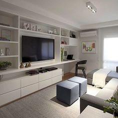 Sala de tv | Branco e cinza!! #decoração #detalhes #designdeinteriores…