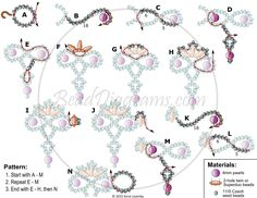 DIY Jewelry: FREE beading pattern for beautiful lacy beaded necklace woven with 4mm pearls, twin or Superduo beads, and Czech 11/0 seed beads. - 2