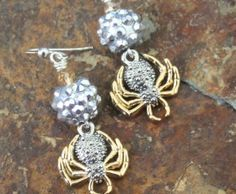 Silver Sparkle Spider Spider Earrings, Drop Earrings, Gold Sparkle, Black Accents, Jewlery, Bling, Charmed, Beads, Halloween